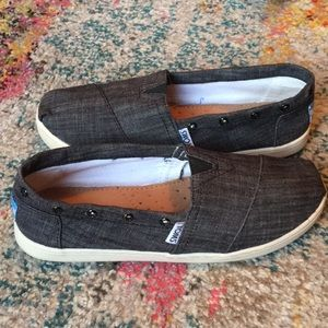 Toms Black Chambray Denim Shoes Youth Size 5